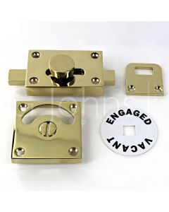 Traditional Vacant & Engaged Indicator Bolt For Bathroom & Toilet Doors - Polished Brass