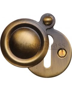 Round Covered Escutcheon - Antique Brass