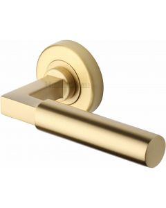 Bauhaus - Round Rose Lever Handles Only - Satin Brass