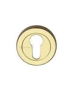 Euro Profile Round Escutcheon - Polished Brass