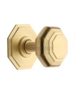 Traditional Centre Door Knob- Satin Brass