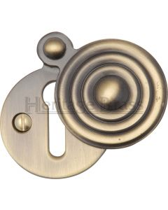 Reeded Covered Escutcheon - Antique Brass