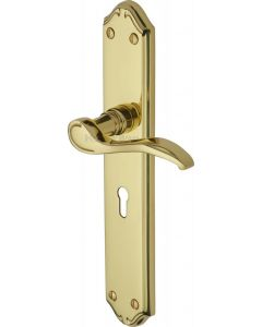 Verona Lever Door Handles On A Long Backplate - Polished Brass - Suitable For Use With FD30 / FD60 Fire Doors