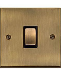 Victorian Elite Light Switch & Socket Range - Raised Plate R05 Design - Square Edges - Antique Brass