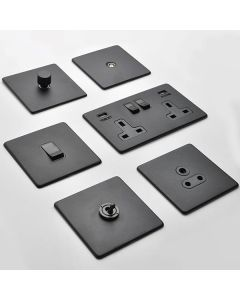 Vintage Concealed Fix Plate Light Switch & Socket Range - Flat Screwless Plate With Rounded Edges - Matt Black