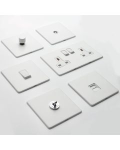 Vintage Concealed Fix Plate Light Switch & Socket Range - Flat Screwless Plate With Rounded Edges - Matt White