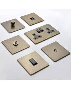 Vintage Concealed Fix Plate Light Switch & Socket Range - Flat Screwless Plate With Rounded Edges - Rustic Brass