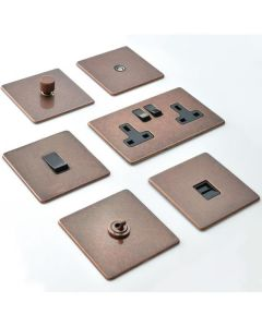 Vintage Concealed Fix Plate Light Switch & Socket Range - Flat Screwless Plate With Rounded Edges - Rustic Copper