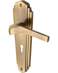 Waldorf Lever Door Handles On A Backplate - Antique Brass - Suitable For Use With FD30 / FD60 Fire Doors