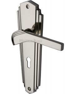Waldorf Lever Door Handles On A Backplate - Polished Nickel - Suitable For Use With FD30 / FD60 Fire Doors