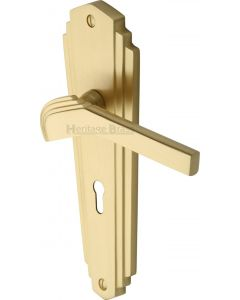 Waldorf Lever Door Handles On A Backplate - Satin Brass - Suitable For Use With FD30 / FD60 Fire Doors