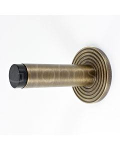 wall-mounted-cylinder-door-stop-with-reeded-round-rose-81mm-x-19mm-antique-brass