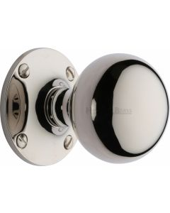 Westminster Round Mortice Knobs - Polished Nickel