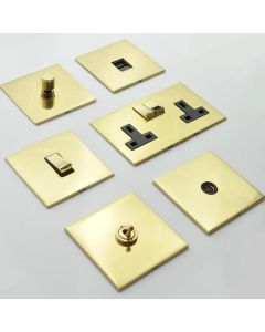 Winchester Concealed Fix Plate Light Switch & Socket Range - Flat Screwless Plate With Rounded Edges - Polished Brass