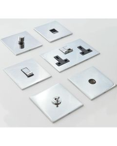 Winchester Concealed Fix Plate Light Switch & Socket Range - Flat Screwless Plate With Rounded Edges - Polished Chrome
