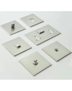 Winchester Concealed Fix Plate Light Switch & Socket Range - Flat Screwless Plate With Rounded Edges - Satin Nickel