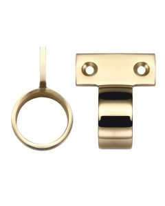 Window Sash Ring - Vertical Fix - 28mm Diameter - Polished Brass