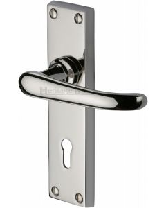 Windsor Lever Door Handles On A Backplate - Polished Nickel - Suitable For Use With FD30 / FD60 Fire Doors
