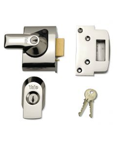 Yale Front Door Lock - Narrow Body -  High Security Nightlatch - 40mm Backset - Polished Chrome