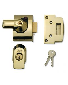 Yale Front Door Lock - Narrow Body -  High Security Nightlatch - 40mm Backset - Polished Brass