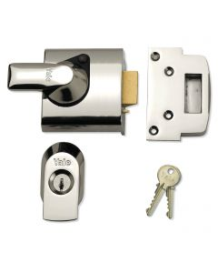 Yale Front Door Lock - High Security Escape Nightlatch - 60mm Backset - Polished Chrome