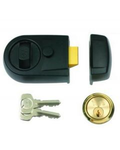 Yale Front Door Lock - Contemporary Style Nightlatch - Black Lock With Brass Cylinder