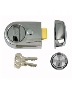 Yale Front Door Lock -  Contemporary Style Nightlatch - Polished Chrome