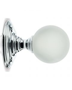 Glass Ball Mortice Knob - Frosted Glass/Polished Chrome