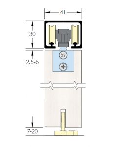 Zero Clearance Low Headroom Sliding Door Track Kit - For Timber Doors Up To 80kg In Weight - Dimensions