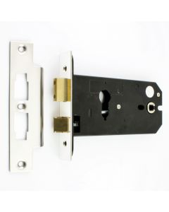 Horizontal Euro Profile Mortice Sash Lock - 152mm Case Depth - Polished Stainless Steel (Shiny Finish)