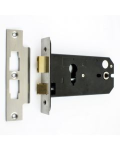Horizontal Euro Profile Mortice Sash Lock - 152mm Case Depth - Satin Stainless Steel (Brushed Finish)