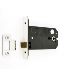 Horizontal Mortice Latch - Deep Case For Use With Door Knobs - Polished Stainless Steel (Shiny Finish)