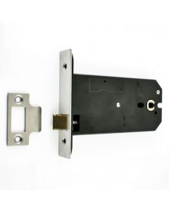 Horizontal Mortice Latch - Deep Case For Use With Door Knobs - Satin Stainless Steel (Brushed Finish)