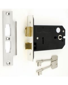 3 Lever Horizontal Mortice Sash Lock - 127mm or 152mm Deep Case - Polished Stainless Steel