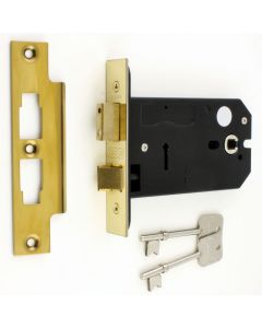 3 Lever Horizontal Mortice Sash Lock - For Use With Door Knobs - 127mm or 152mm Deep Case - PVD Brass
