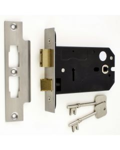 3 Lever Horizontal Mortice Sash Lock - 127mm or 152mm Deep Case - Satin Stainless Steel