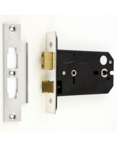 Horizontal Mortice Bathroom Lock - 127mm or 152mm Deep Case - Polished Stainless Steel (Shiny Finish)