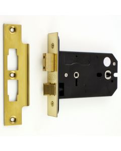 Horizontal Mortice Bathroom Lock - For Use With Door Knobs - 127mm or 152mm Deep Case - PVD Brass