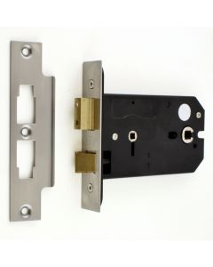 Horizontal Mortice Bathroom Lock - 127mm or 152mm Deep Case - Satin Stainless Steel (Brushed Finish)