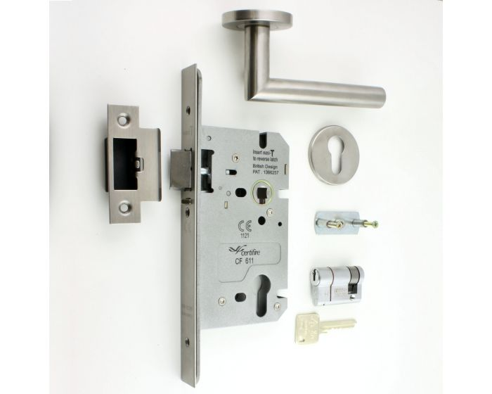 Night Latch Euro Lock Case 60mm with Satin Stainless Steel Finish