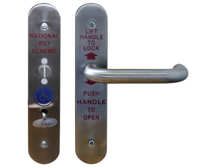 Disabled Toilet Handles with Lock Satin Stainless Steel