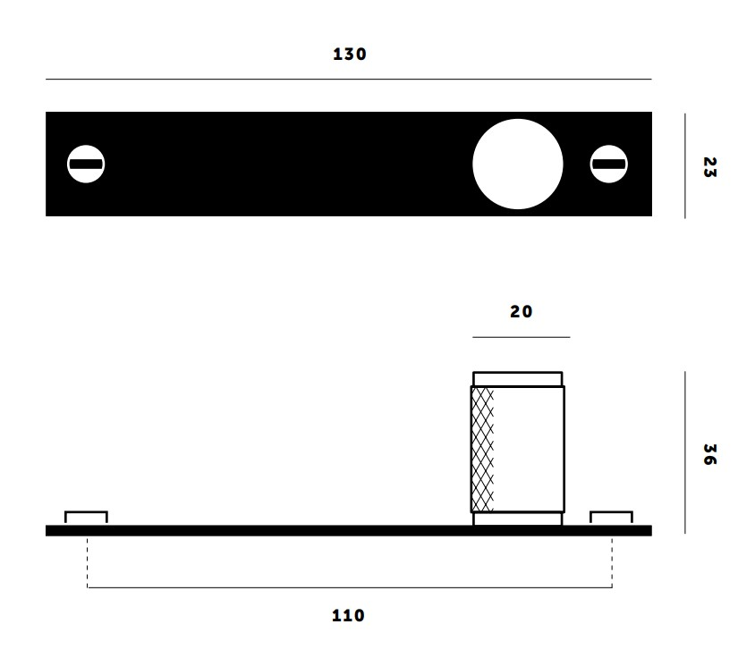 Buster & Punch Knurled Pattern Cupboard Knob On Back Plate - Dimensions Diagram