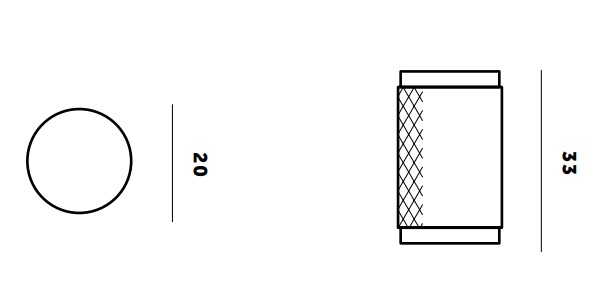 Buster & Punch Knurled Pattern Cylinder Cupboard Knob - Dimensions Diagram