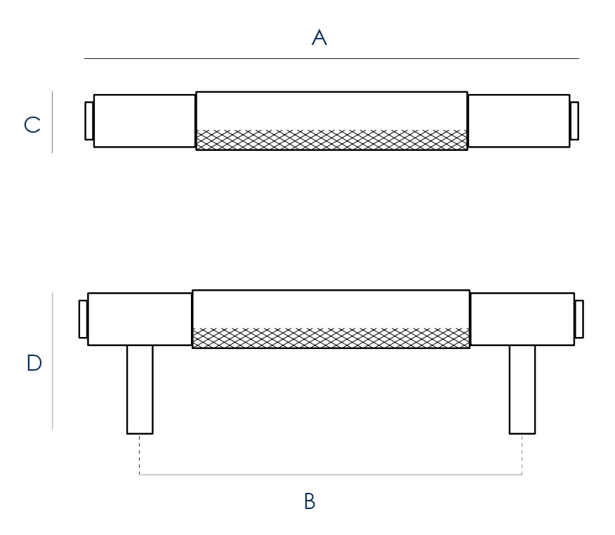 Buster & Punch Knurled Pattern Cabinet Pull Handle - Dimensions Diagram