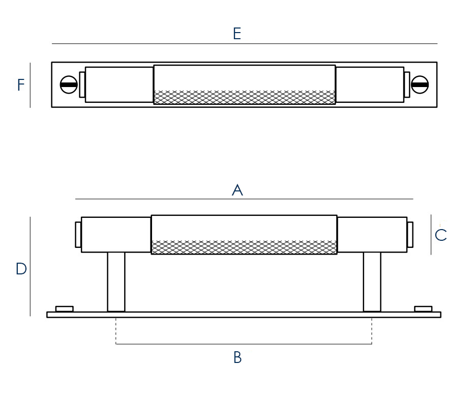 Buster & Punch Pull Bar Cabinet Handle With Back Plate - Dimensions Diagram