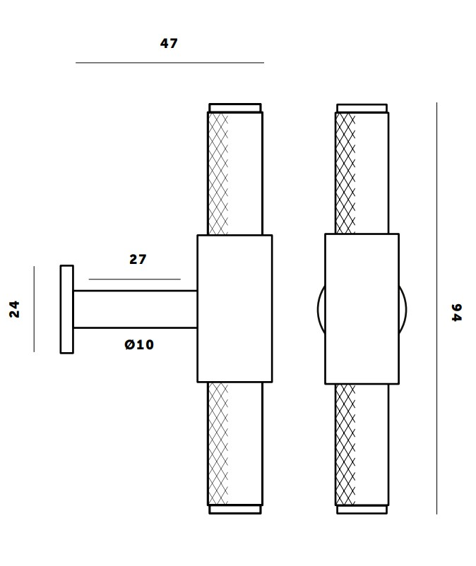 Buster & Punch Knurled Design T-Bar Cabinet Pull - Dimensions Diagram