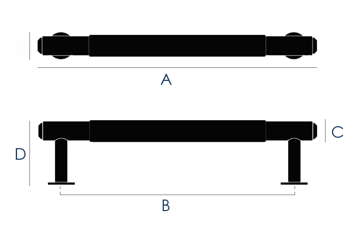 Buster & Punch Linear Pattern Pull Bar Cabinet Handle - Dimensions Diagram