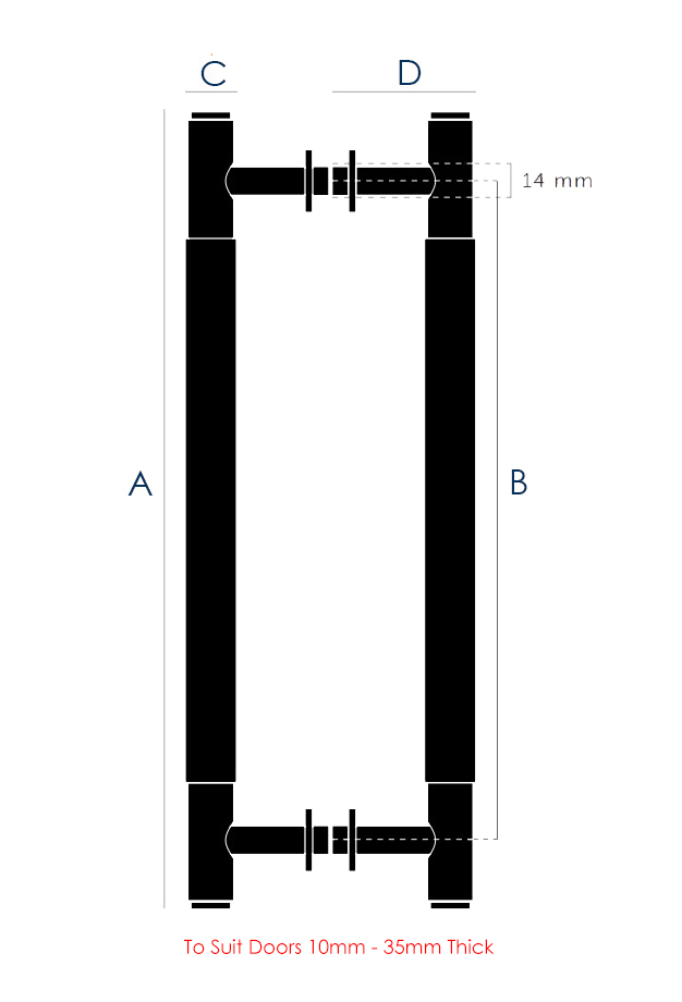 Buster & Punch Back To Back Fitting Knurled Pull Bar Handles - Dimensions Diagram