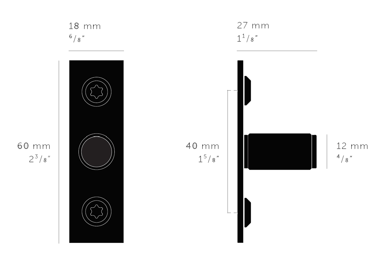 Buster & Punch Linear Cupboard Knob With Backplate - Dimensions Diagram