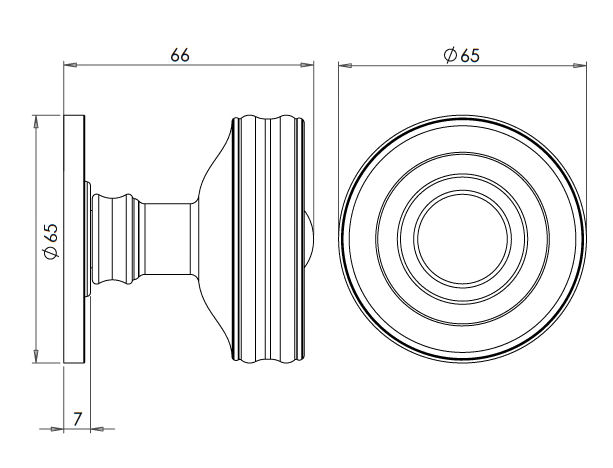 Classic-Design-Mortice-Knob-With-Raised-Front-And-Concealed-Fixed-Rose-Dimensions-Diagram